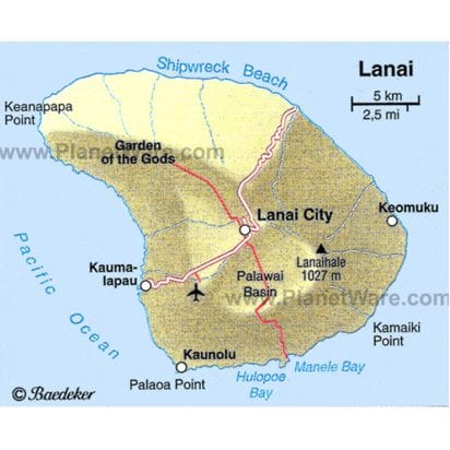 Expeditions - Lanai Jeep Excursion with Ferry (Lanai Map)